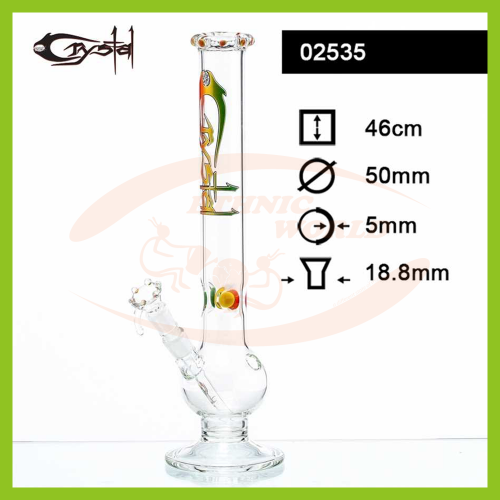 Glass Bong Crystal Rasta (02535)